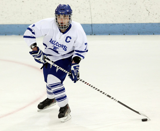 North Billerica: Danvers senior captain Rob Buchanan lines up a wrist shot against Concord-Carlisle on Monday evening in the D2 North semi-final game. David Le/Salem News