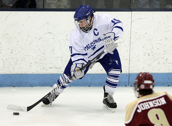 North Billerica: Danvers senior captain Joe Strangie lines up a shot on the power play against Concord-Carlisle on Monday evening. Strangie and the Falcons defeated the Patriots 5-3 in the D2 North semi-final to advance to the D2 North final next Monday. David Le/Salem News