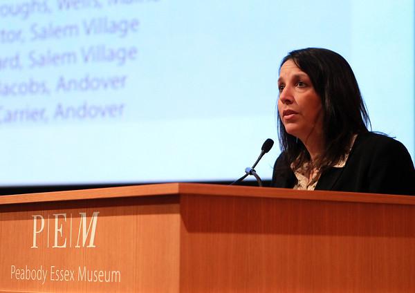 Salem: Salem Mayor Kim Driscoll makes some opening remarks at the 21st Annual Salem Award Presentation on Tuesday evening at the Peabody Essex Museum. David Le/Salem News