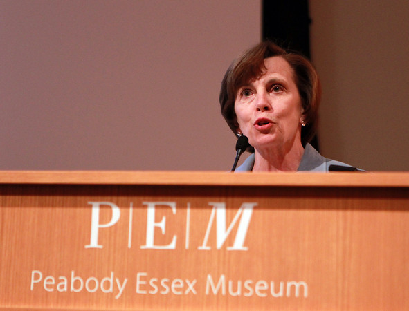 Salem: President of Salem State University Patricia Maguire Meservey makes some opening remarks at the 21st Annual Salem Award Presentation on Tuesday evening at the Peabody Essex Museum. David Le/Salem News