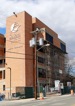 Salem: The scaffolding erected outside the Salem State University North Campus Library was still standing on Wednesday afternoon. A meeting was held to decide what to do about the building. David Le/Salem News