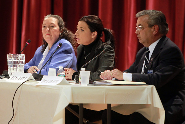 Peabody: From left, Candidates for Peabody State Representative Beverley Griffin Dunne, Leah Cole, and David Gravel participated in a forum sponsored by the Salem News and the Peabody Chamber of Commerce on Wednesday evening. David Le/Salem News`