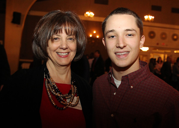 Danvers: Danvers High School Principal Susan Ambrozavitch, and senior Dom Boisvert, at the 8th Annual Hall of Honor ceremony of the Danvers Educational Enrichment Partnership held at the Danversport Yacht Club on Thursday evening. David Le/Salem News