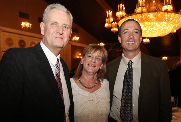 Danvers: From left, Mark Strout, Betty Pickering, and Michael Gargan, at the 8th Annual Hall of Honor ceremony of the Danvers Educational Enrichment Partnership held at the Danversport Yacht Club on Thursday evening. David Le/Salem News