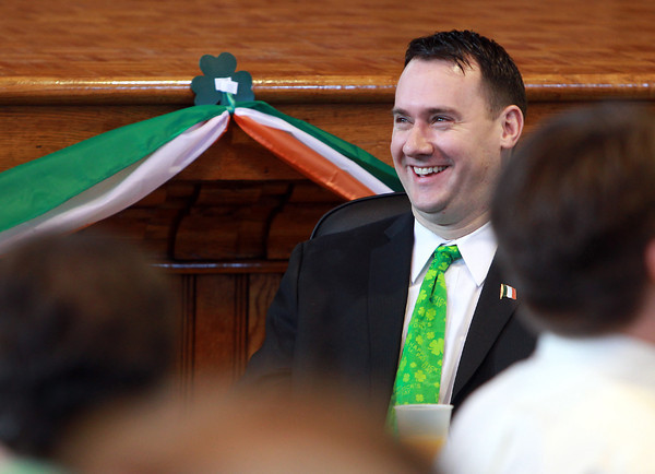 Peabody: Peabody Mayor Ted Bettencourt laughs at a joke told by City Council President Tom Gould during the St. Pat's Day roast at Peabody City Hall on Saturday morning. David Le/Salem News