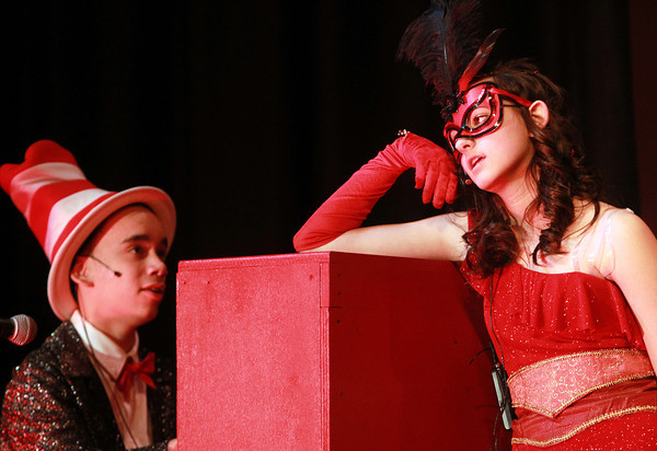 Salem: Nathaniel Bowditch 8th graders Joel Murga and Danielle Gauthier rehearse a number from the musical Seussical. Seussical will be held March 14th & 15th at 6:30 pm, and March 16th at 12:30 pm at the Nathaniel Bowditch School. David Le/Salem News
