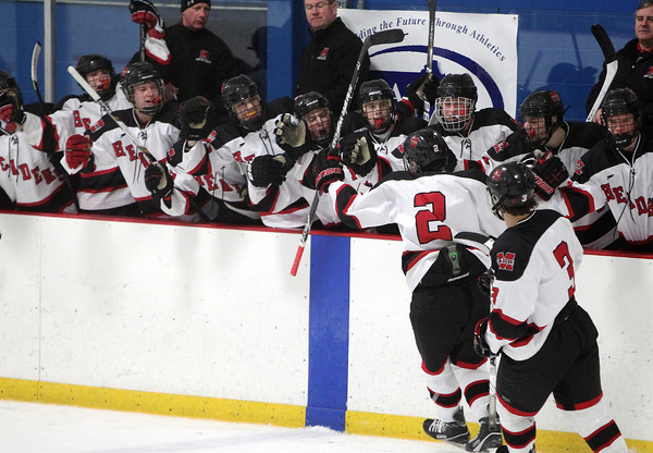 Stoneham: The Marblehead bench explodes in cheers and gives senior captain Ian Maag high fives as he skates by after scoring his second goal of the game, putting the Headers up 2-1 over Rockport on Saturday evening. David Le/Salem News