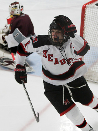 Stoneham: Marblehead senior captain Ian Maag pumps his fist in the air after scoring his first goal of the game, tying the game at 1-1. Maag notched a hat trick to lead the Headers past Rockport in D3 quarterfinal action on Saturday evening. David Le/Salem News