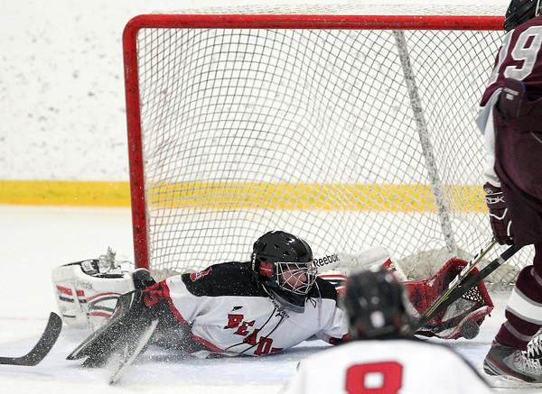 Stoneham: Marblehead junior goalie Myles Barry makes a sprawling glove save against Rockport on Saturday evening. David Le/Salem News