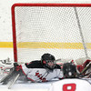 Stoneham: Marblehead junior goalie Myles Barry makes a sprawling glove save against Rockport on Saturday evening. David Le/Salem News