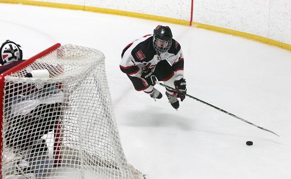 Stoneham: Marblehead freshman forward Matt Koopman loses his footing while flying around the Rockport goal. David Le/Salem News