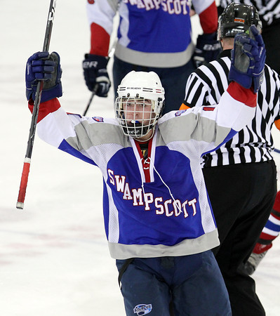 North Billerica: Swampscott senior Corey Carmody pumps up the Swampscott fan section after scoring a go-ahead goal with 2:01 to play in the third period against Marblehead on Wednesday evening. David Le/Salem News