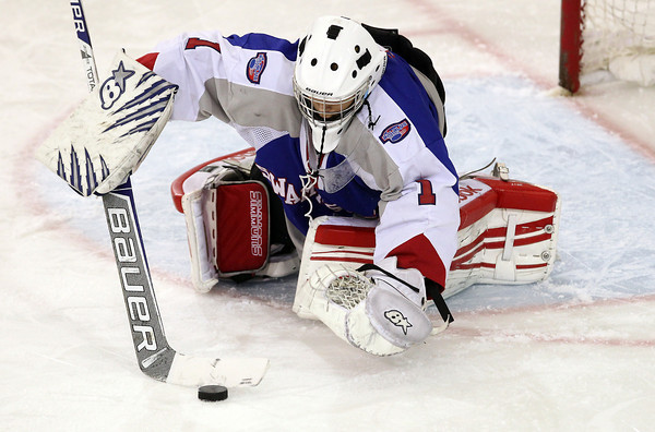 North Billerica: Swampscott freshman goalie Tristan Bradley makes a save against Marblehead on Wednesday. Bradley made 24 saves on 25 shots and helped the Big Blue to an upset win over the Headers, 4-1, to advance to the D3 North Final. David Le/Salem News