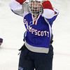 North Billerica: Swampscott junior Joey Silva celebrates the Big Blue 4-1 win over the Headers in the D3 North Semi-Final on Wednesday evening at the Chelmsford Forum. David Le/Salem News