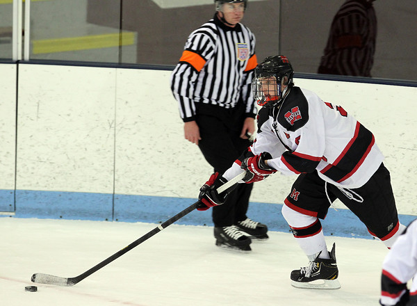 North Billerica: Marblehead junior forward Tom Koopman controls the puck in the offensive zone against Swampscott on Wednesday evening. David Le/Salem News