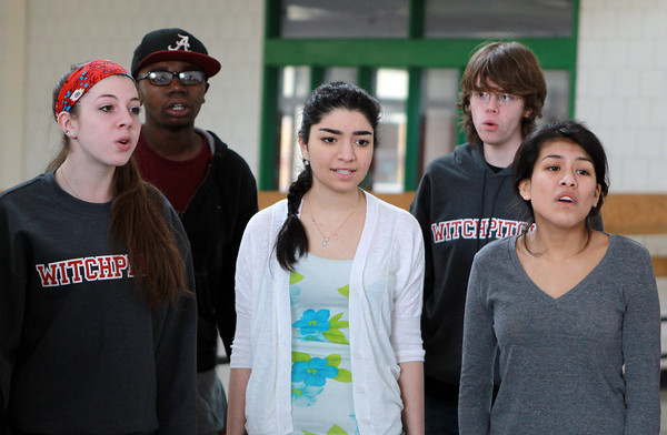 Salem: From left, Salem High School WitchPitch? sophomore Jeanette Abbene, senior Nathaniel Oscar, freshman Vinnesa Sisneros, junior Derek Dupuis, and senior Kimberly Barzola, rehearse a song on Friday afternoon in preparation for an a cappella competition in New York. David Le/Salem News