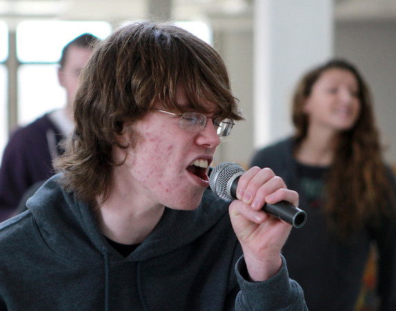 """Salem: Salem High School junior Derek Dupuis belts out a solo to """"Take Me Out/Paralyzer"""" during rehearsal on Friday afternoon. David Le/Salem News"""