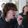 "Salem: Salem High School junior Derek Dupuis belts out a solo to ""Take Me Out/Paralyzer"" during rehearsal on Friday afternoon. David Le/Salem News"
