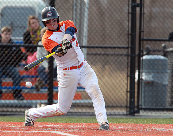 Salem: Salem State senior Kevin Salines connects with a pitch against Suffolk on Wednesday afternoon. David Le/Salem News