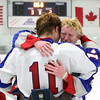 Stoneham: Swampscott junior Nunzio Morretti, right, tearfully hugs classmate Joey Silva after the Swampscott pulled off a thrilling third period comeback, capped off by Morretti's goal with only 6.2 seconds left in the game, giving Swampscott a 3-2 lead and a win in the D3 North Final. David Le/Salem News