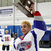 Stoneham: Swampscott freshman goalie Tristan Bradley holds the D3 North Championship trophy high above his head after the Big Blue defeated Bedford 3-2 on Saturday afternoon. David Le/Salem News