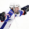 Stoneham: Swampscott junior Nunzio Morretti sprints down ice with his arms spread wide after scoring the game-winning-goal with only 6.2 seconds left to play in the third period. David Le/Salem News
