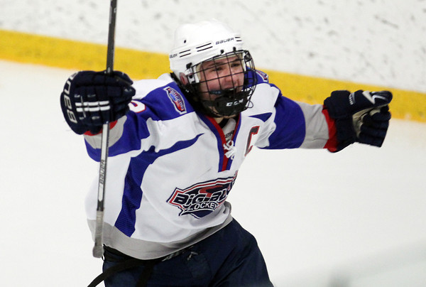 Stoneham: Swampscott senior captain Trevor Massey screams in celebration and pumps his fists after scoring a second period goal that put the Big Blue up 1-0 in the D3 North Title game. David Le/Salem News