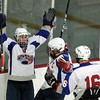 Stoneham: Swampscott High School senior forward Corey Carmody throws his hands in the air in celebration after scoring his second goal of the afternoon. Carmody scored a hat trick to pace the Big Blue as they earned their first tournament win in 44 years, defeating St. Joseph's Prep 10-1 on Saturday afternoon. David Le/Salem News