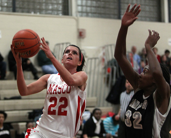 Topsfield: Masco senior captain Claudia Marsh goes up for a layup against Cambridge. Marsh scored 21 points to lead the Chieftans past Cambridge on Wednesday evening. David Le/Salem News