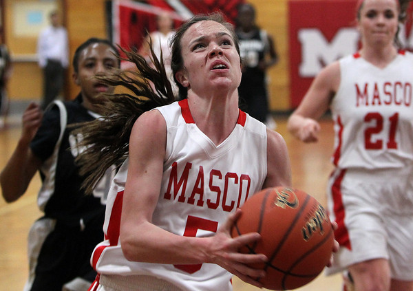 Topsfield: Masco sophomore guard Meghan Collins goes up for a contested layup against Cambridge on Wednesday. David Le/Salem News