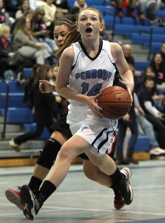 Peabody: Peabody freshman guard Sara Hosman races in for a layup against Salem on Friday evening. David Le/Salem News