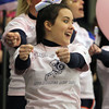 Salem: Salem State sophomore Lindsay Costa cheers on the Vikings as they took on UMass Dartmouth on Think Pink Night on Thursday evening at the O'Keefe Center. David Le/Salem News