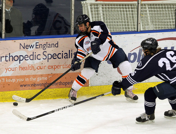 Salem: Peabody native and current Salem State University forward Andrew Bucci chips the puck up the boards to a teammate in the offensive zone against UMass Dartmouth. David Le/Salem News