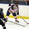 Salem: Salem State University sophomore Sutton Wilson saucers the puck to a teammate against UMass Dartmouth on Thursday evening. David Le/Salem News