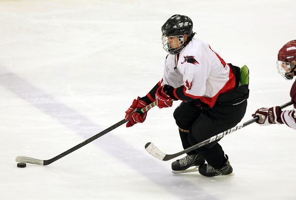 Salem: Salem High School sophomore forward Sam Petri carries the puck up-ice against Lowell on Wednesday evening. David Le/Salem News
