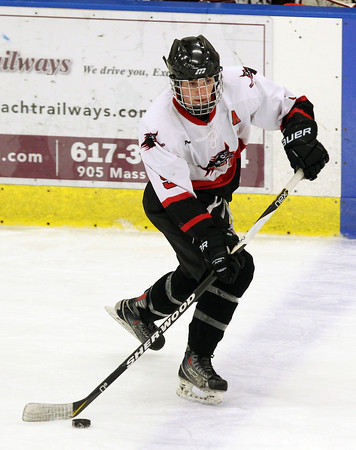 Salem: Salem junior forward Matt Jalbert starts an offensive rush up-ice for the Witches against Lowell on Wednesday evening. David Le/Salem News