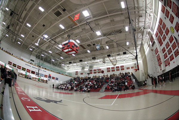 Salem: Fisheye view of the Salem High School gymnasium as the Witches took on Winchester in the first round of the D2 tournament. David Le/Salem News