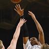 Worcester: St. John's Prep player Isaiah Robinson makes a shot. photo by Mark Teiwes / Salem News