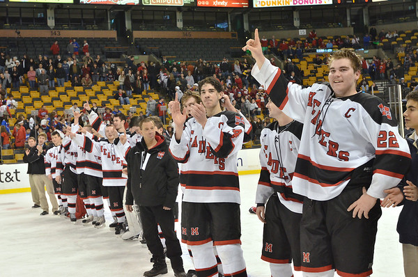Boston: Marblehead captain Ben Koopman, right, scored one of the goals in the game. photo by Mark Teiwes / Salem News