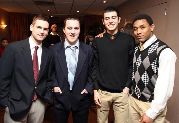 Danvers: From left, Beverly High School football players, senior Karl Brandt, senior Dan Hogan, sophomore Dante Abate, and junior Isiah White. David Le/The Salem News