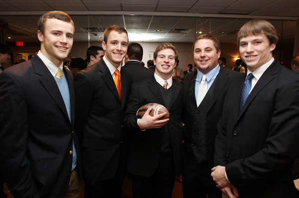 Danvers: From left, Beverly High School senior football captains Brendan Flaherty, Dave Rollins, Dom Abate, Marc Babcock, and Kenny Pierce. David Le/The Salem News
