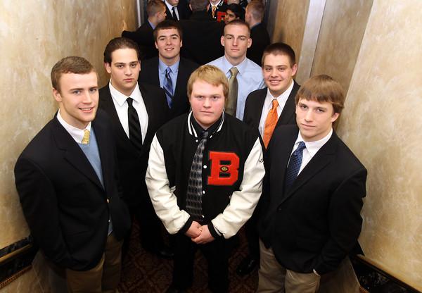Danvers: From left, Beverly High School seniors, Brendan Flaherty, Alex Negron, Joe Marciano, Kevin Kennedy, Brandon McGee, Mike Dooling, and Kenny Pierce. David Le/The Salem News
