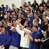 Beverly: A large contingent of Danvers Falcons fans explode in cheers after the Falcons took the lead 48-47 on the Beverly Panthers on Tuesday night. David Le/Salem News