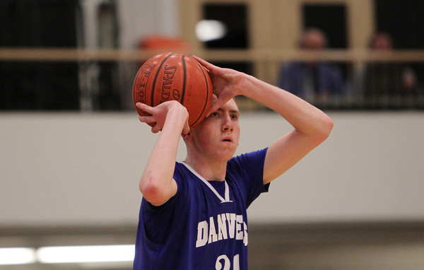 Beverly: Danvers sophomore Vinny Clifford hits a three-pointer from the corner to draw the Falcons even with the Panthers as they took on Beverly on Tuesday evening. David Le/Salem News