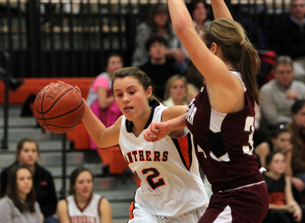 Beverly: Beverly High School sophomore guard Hannah Silvestri tries to get past a Gloucester player during the third quarter of play on Friday evening. David Le/The Salem News