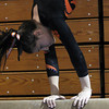 Peabody: Beverly senior gymnast Adrianna Beatrice concentrates during her beam routine against Peabody on Wednesday evening. Beatrice and the Panthers stayed undefeated on the season, downing the Tanners at Peabody High School. David Le/The Salem News