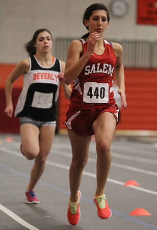 Salem High School sophomore Deema Hijleh, right, outraces Beverly sophomore Kristina Frangos, to the finish line during the 300m race on Thursday afternoon. David Le/Staff Photo