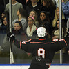 Salem: Beverly sophomore defenseman Nick Albano celebrates his second period goal in front of a large section of unhappy Swampscott fans. The Panthers went on to defeat the Big Blue 4-1 in NEC action at the O'Keefe Rink at Salem State on Saturday afternoon. David Le/Salem News