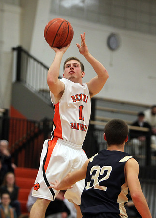 Beverly: Beverly senior captain Dom Abate hits a three-pointer against Winthrop on Friday evening. The Panthers took down the Vikings 75-56 at Beverly High School. David Le/Salem News