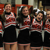 Beverly: From left, Beverly High School cheerleaders Elaine Julien, Kendel Davy, Holly Roberts, Aliza Bernfeld, and Alli McDonald, pose for a photo while cheering on the Panthers on Friday night. David Le/Salem News